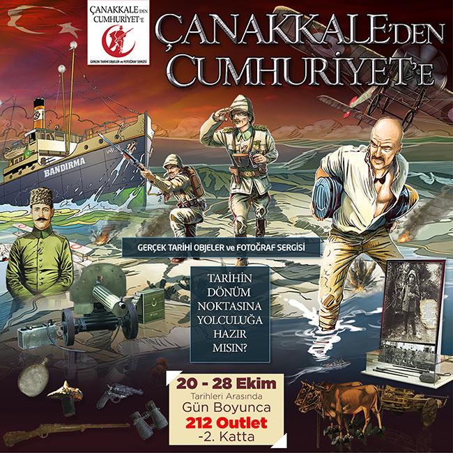 212 Outlette Çanakkale'den Cumhuriyete Gerçek Tarihi Objeler ve Kahramanlar Sergisi