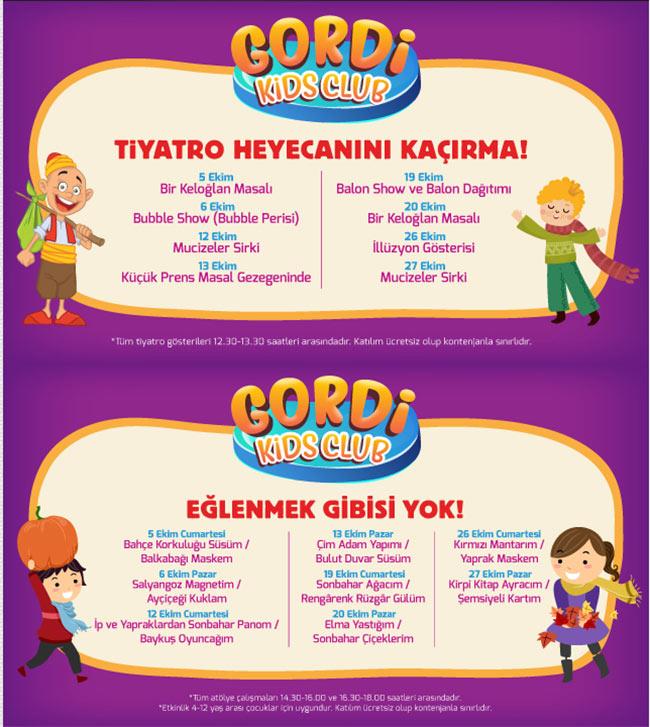 Gordi Kids Club Ekim Ayında 'da Dopdolu etkinlikler sizleri bekliyor..