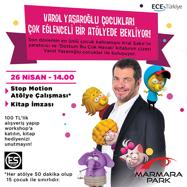 Ünlü Karikatürist Varol Yaşaroğlu  Marmara Park'ta Çocuklarla Buluşuyor