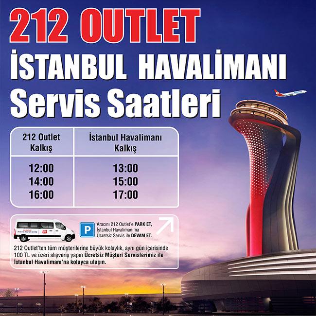 212 OUTLET'DEN, İSTANBUL HAVALİMANI'NA ÜCRETSİZ SERVİS