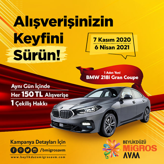 Beylikdüzü Migros Avmden BMW 218i Gran Coupe