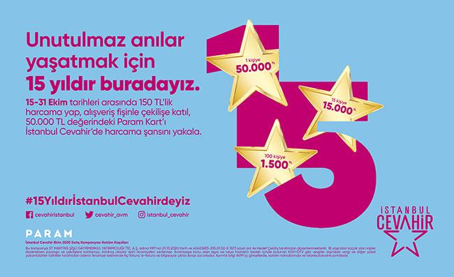İstanbul Cevahir AVM'den 15. Yıla özel 50.000TL değerinde Param Kart