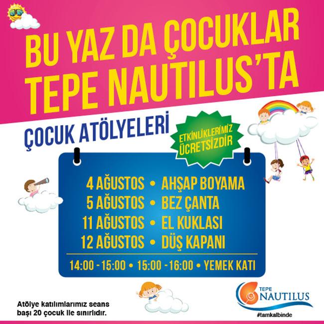 Tepe Nautilus'tan Çocuklara Özel  Atölyeler