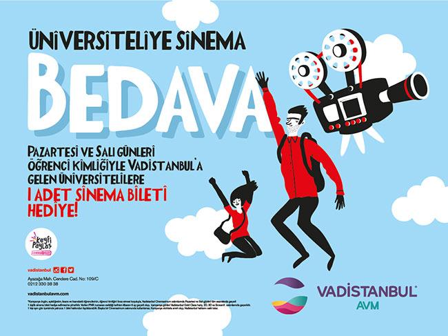 Üniversiteli'ye Sinema Bileti Vadistanbul'dan Bedava!